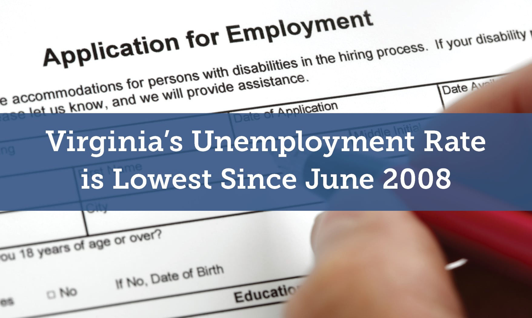 Virginias Unemployment Rate Is Lowest Since June   Hanover - Us counties with lowest unemployment rate