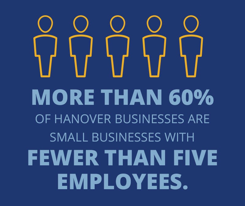More than 60% of Hanover businesses are small businesses with fewer than five employees.