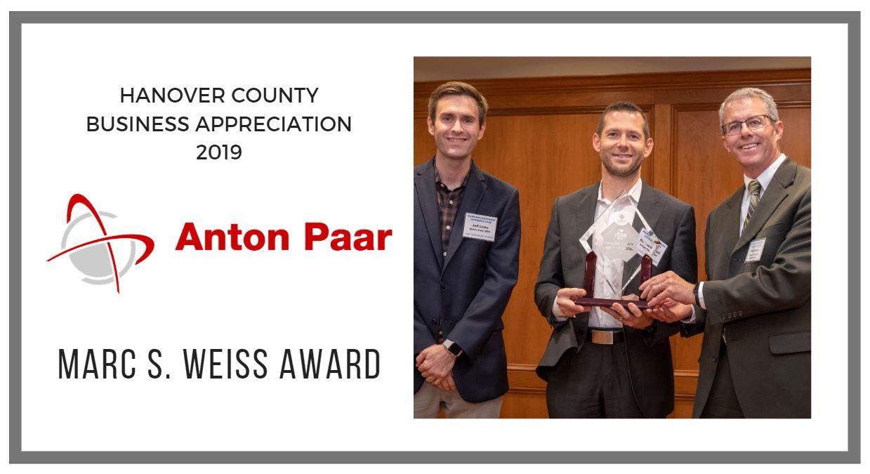 Anton Paar executives receiving the Marc S. Weiss Award