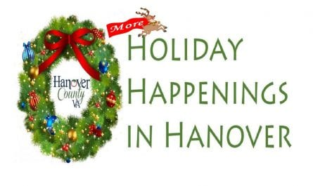 "Christmas wreath and reindeer illustrations, with the words ""Holiday happenings in Hanover"""