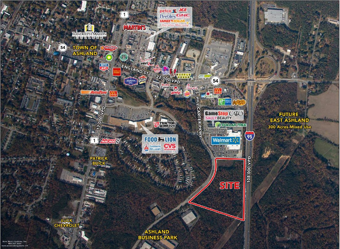 Aerial map showing an outline of the property site at 211 South Hill Carter Parkway, Ashland, VA