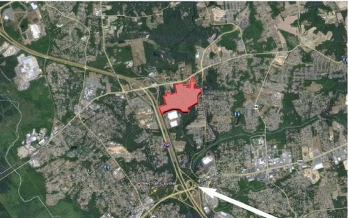 Aerial map outlining Pole Green Commerce Center