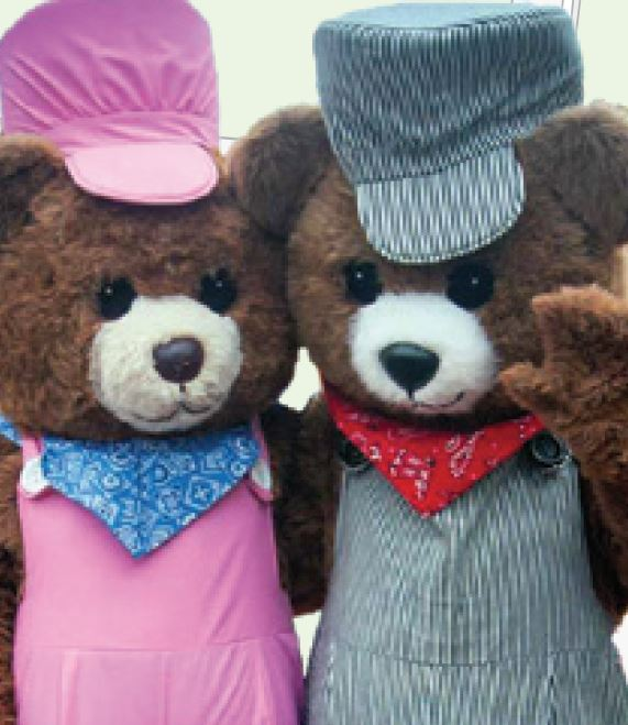 Train Day Bear Mascots