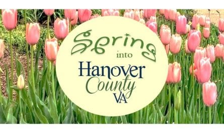 Spring into Hanover County logo over tulips