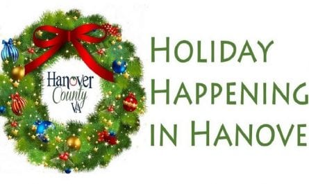 "Christmas wreath illustration, with the words ""Holiday happenings in Hanover"""